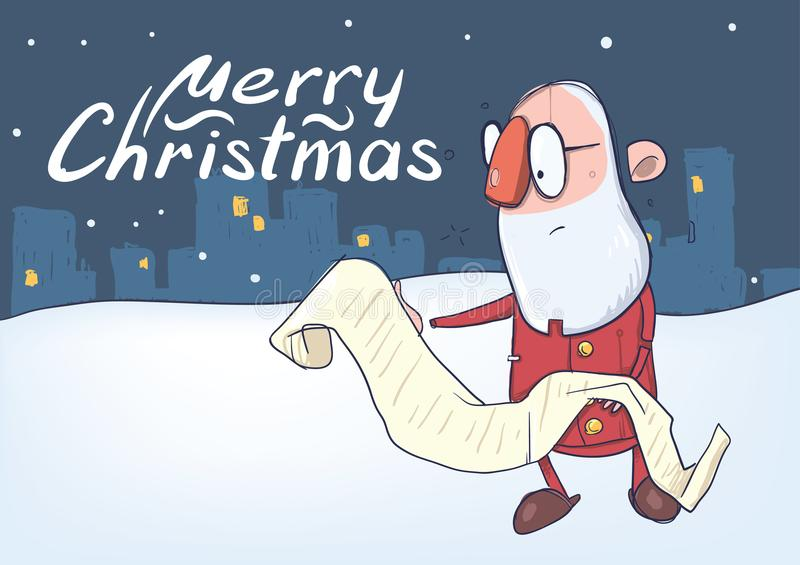 读一个长的纸卷的滑稽的圣诞老人圣诞卡站立在多雪的夜城市 传染媒介字符例证 皇族释放例证