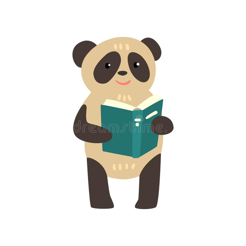 读书、逗人喜爱的动物卡通人物、学校教育和知识概念传染媒介例证的熊猫  皇族释放例证