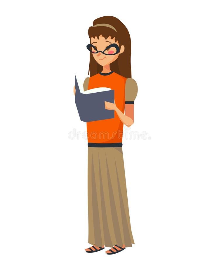 读书传染媒介例证的被隔绝的年轻白种人女孩 青少年的佩带的玻璃、橙色女衬衫和一条长的灰褐色裙子 向量例证