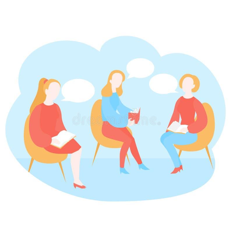读书俱乐部会议,图书馆 教育,文学类的学生 动画片女孩 皇族释放例证