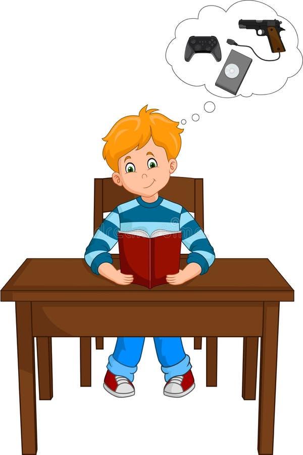 读书和认为比赛的男孩在表 向量例证