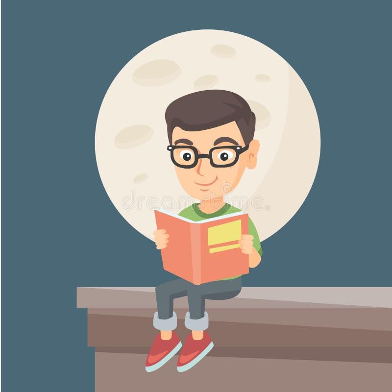读书的小男孩在房子的屋顶 皇族释放例证