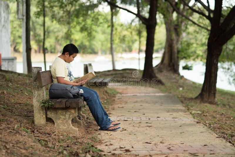 读书的年轻亚裔男孩在长凳在公园 库存图片