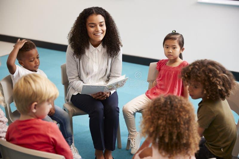 读书的年轻女性学校老师对幼儿园孩子,坐在一个圈子的椅子在教室听,克洛 免版税库存图片