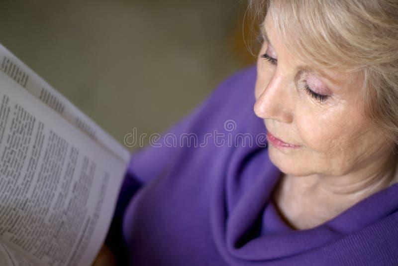 读书的成熟老妇人 库存图片
