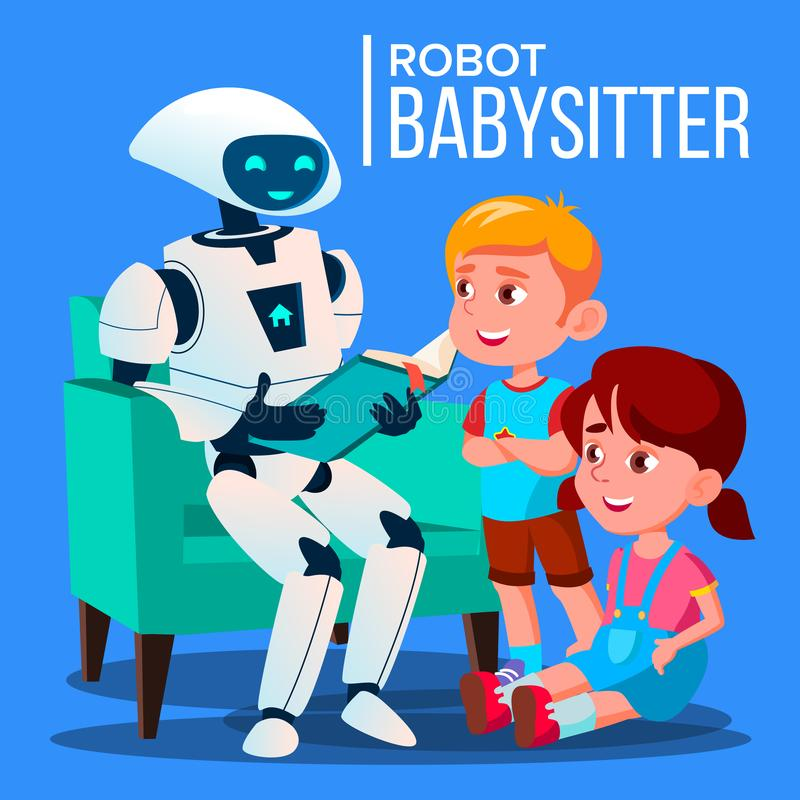 读书的机器人保姆对孩子在沙发传染媒介 按钮查出的现有量例证推进s启动妇女 向量例证