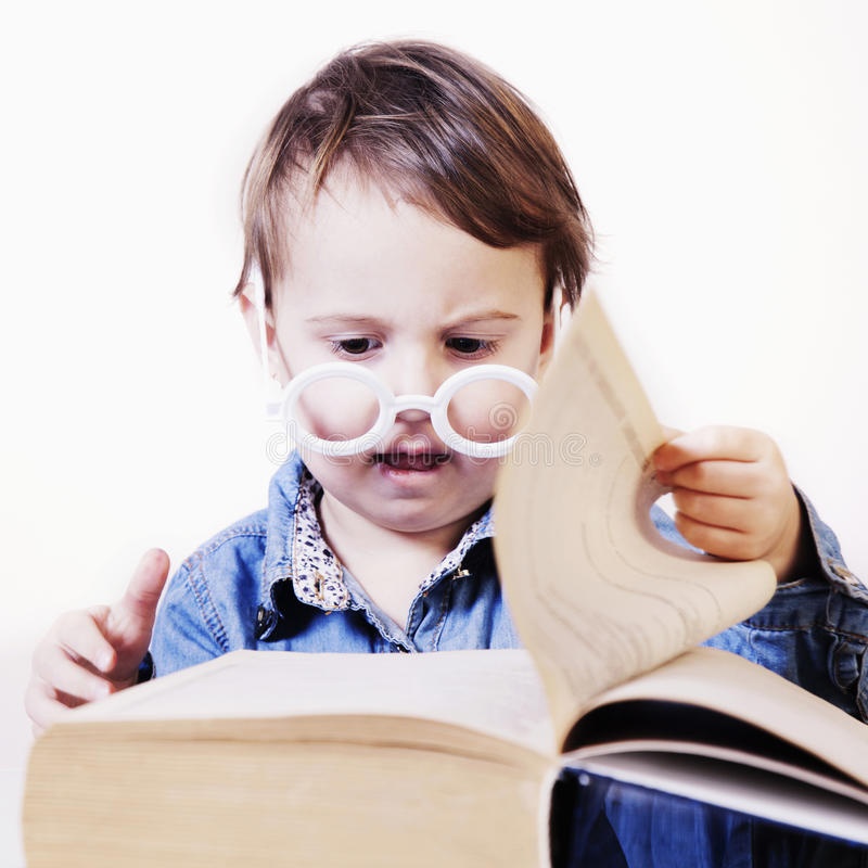 读书的美丽的矮小的教授 幽默图片 sci 库存照片
