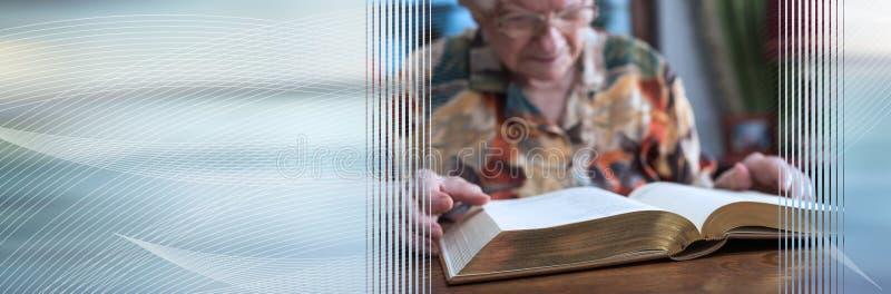 读书的老妇人;全景横幅 图库摄影