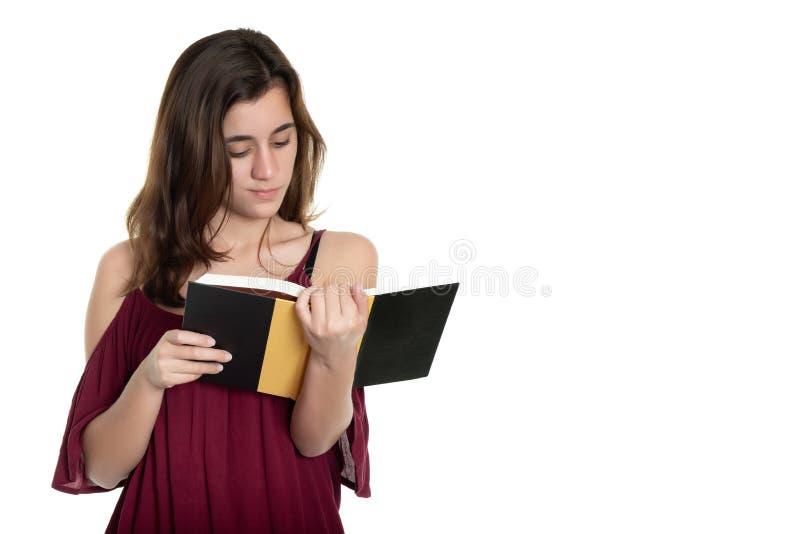 读书的西班牙十几岁的女孩-隔绝在白色 免版税库存图片