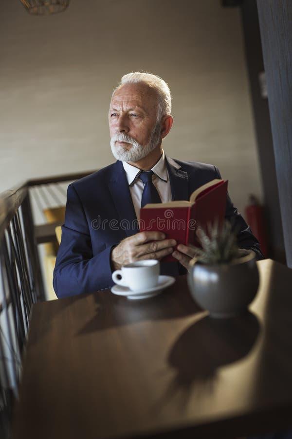 读书的资深商人 免版税库存照片