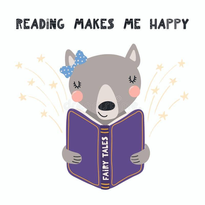 读书的逗人喜爱的狼 皇族释放例证