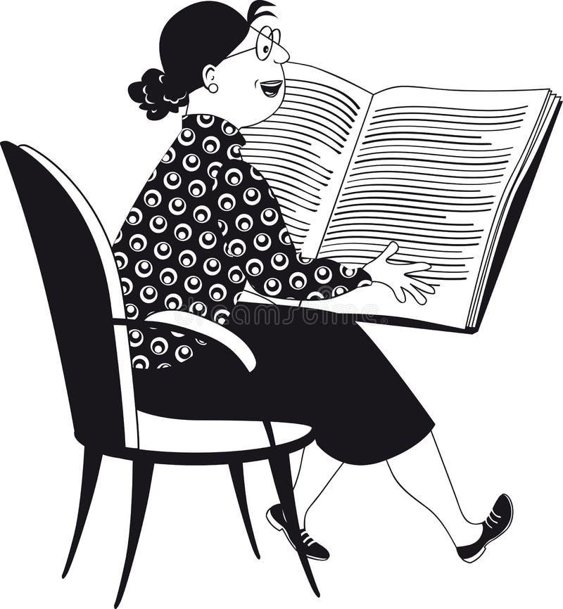 读儿童图书的妇女 皇族释放例证