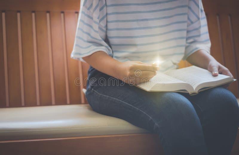 读圣经的年轻女人 库存图片