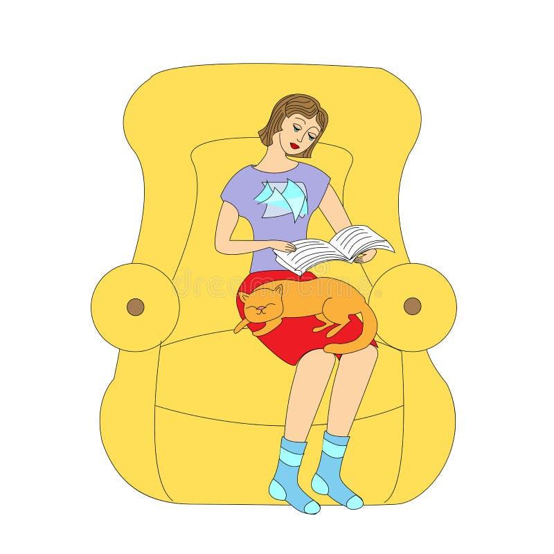 读在一把扶手椅子的女孩一本书有她的猫的 r 库存例证