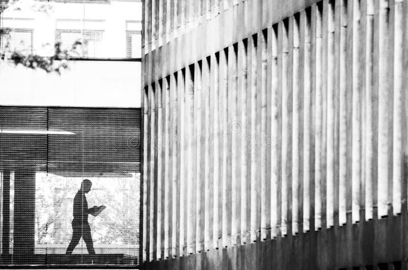 读在城市的建筑学的一个人的剪影一张报纸 免版税库存照片