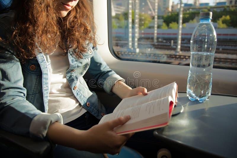 读旅客在火车的一本书 库存照片