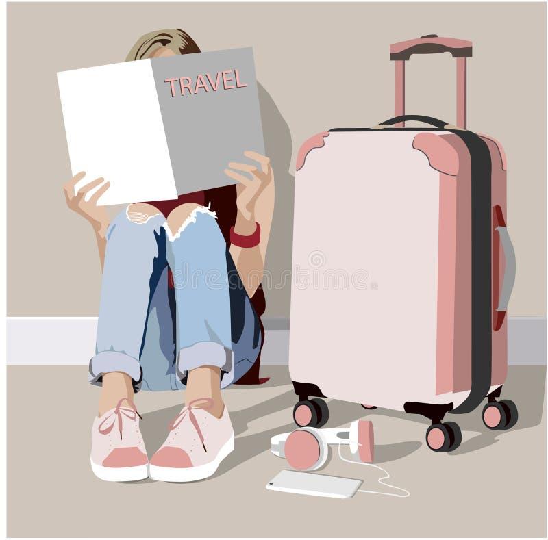 读旅行杂志的女孩坐地板在手提箱附近 皇族释放例证