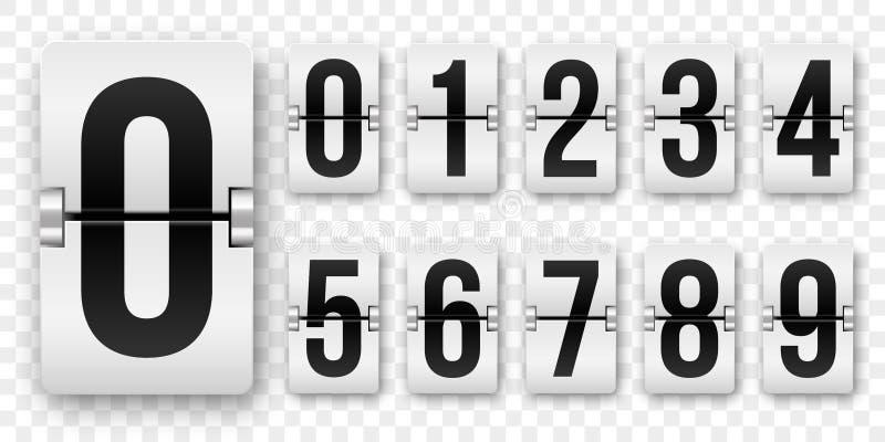 读秒数字翻转逆传染媒介隔绝了0到9减速火箭的样式轻碰时钟或记分牌机械数字设置黑在白色 向量例证