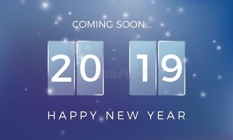 读秒新对年 新年快乐2019年 与降雪的假日背景 也corel凹道例证向量 皇族释放例证