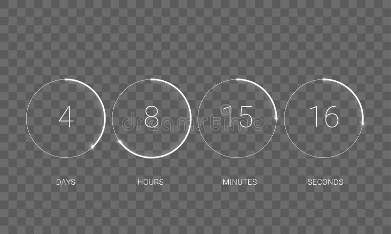 读秒时钟计数器传染媒介数字式定时器 皇族释放例证