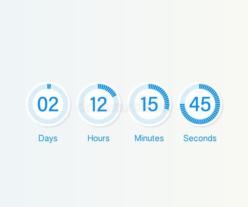 读秒时钟计数器定时器 UI app数字式计数下来盘旋委员会米与圈子时间圆形图 库存例证