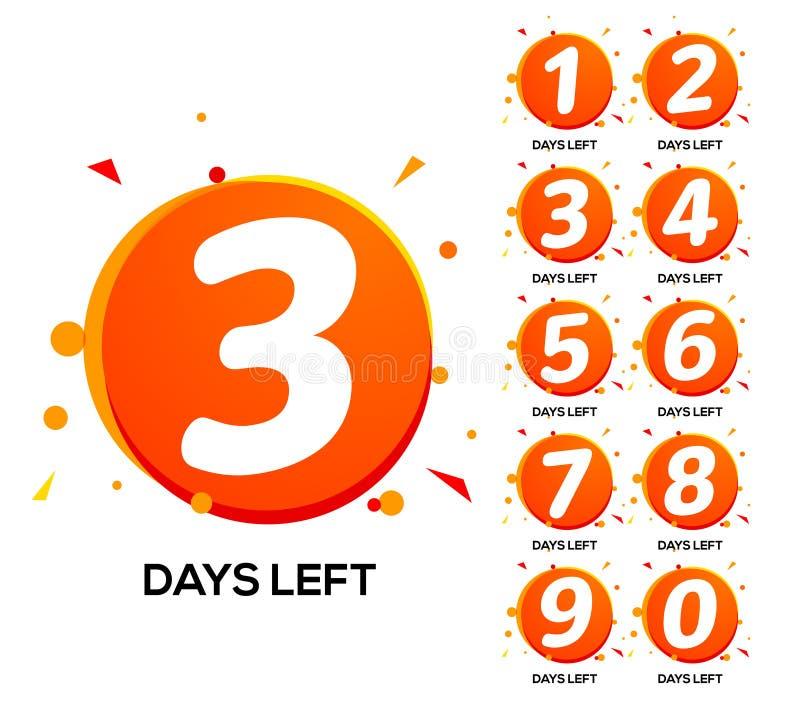 读秒留下几天 一两三天左数字,计数时间销售星期横幅 库存例证