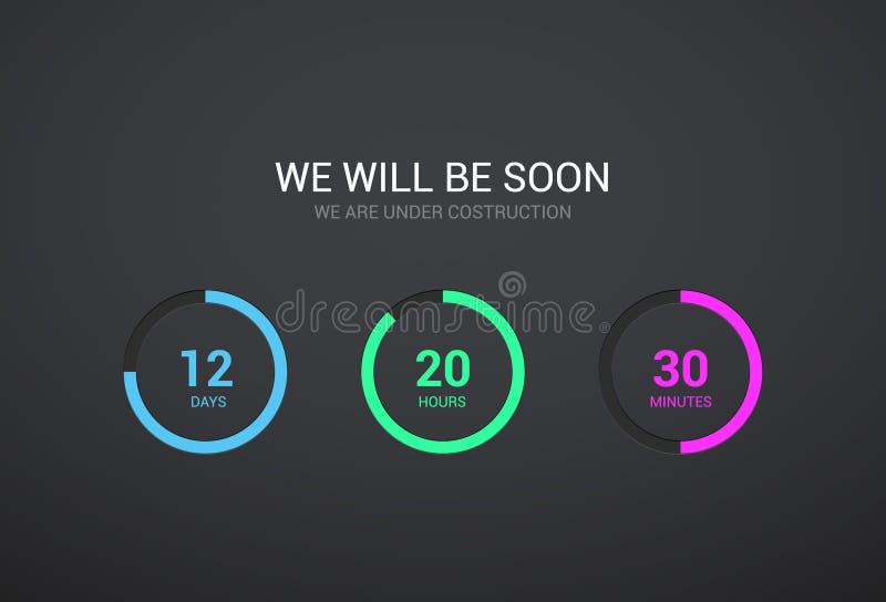 读秒网站的定时器设计 时钟在黑暗的背景的定时器设计 很快来app现代平的柜台 库存例证