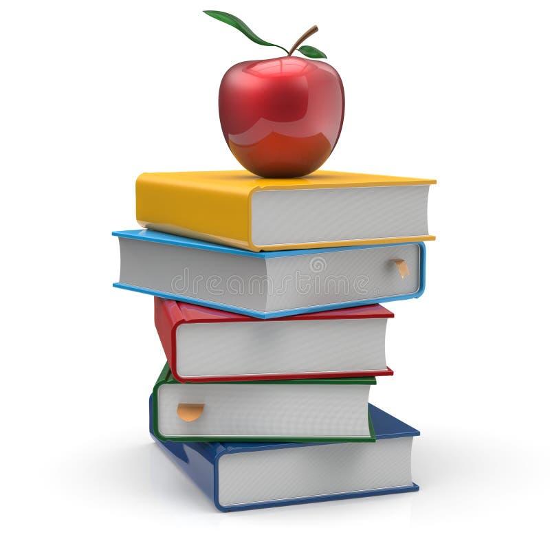 课本书架空白不同多色和苹果 库存例证