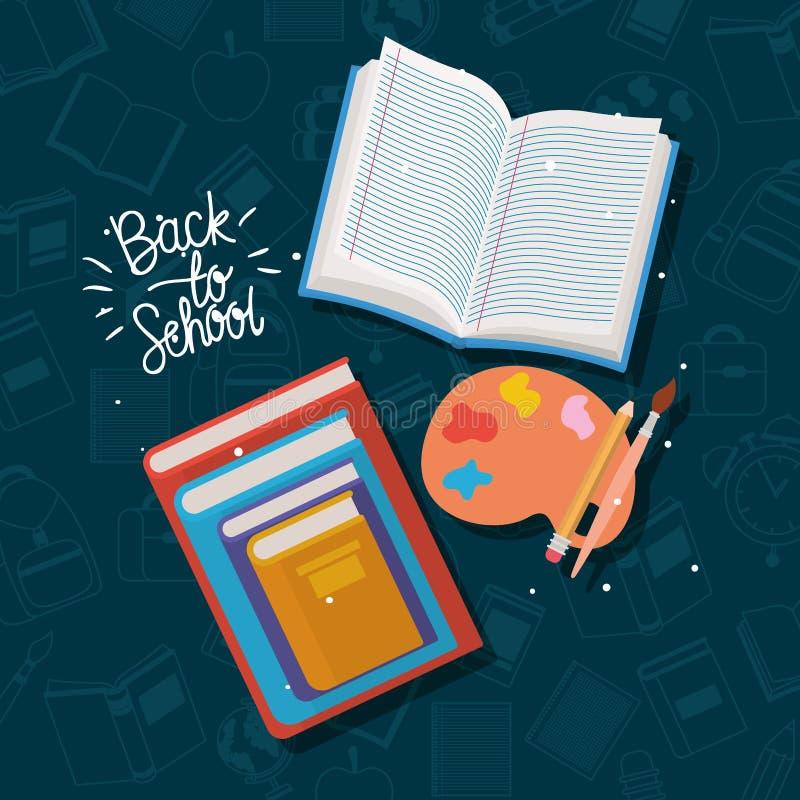 课本和供应回到学校 向量例证