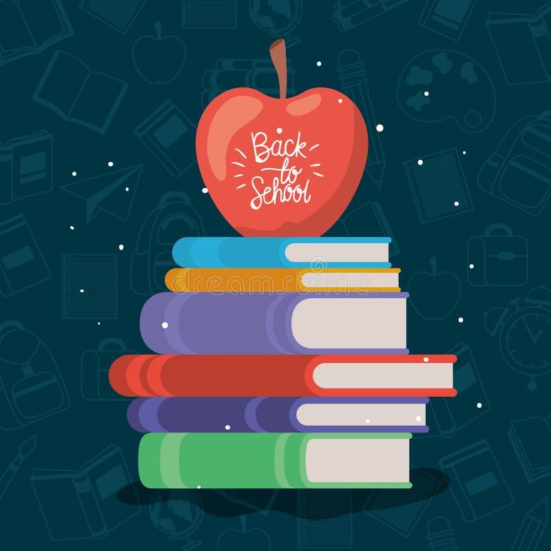 课本和苹果供应回到学校 皇族释放例证