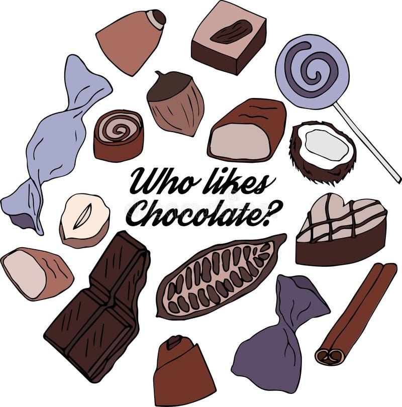 谁喜欢巧克力 皇族释放例证