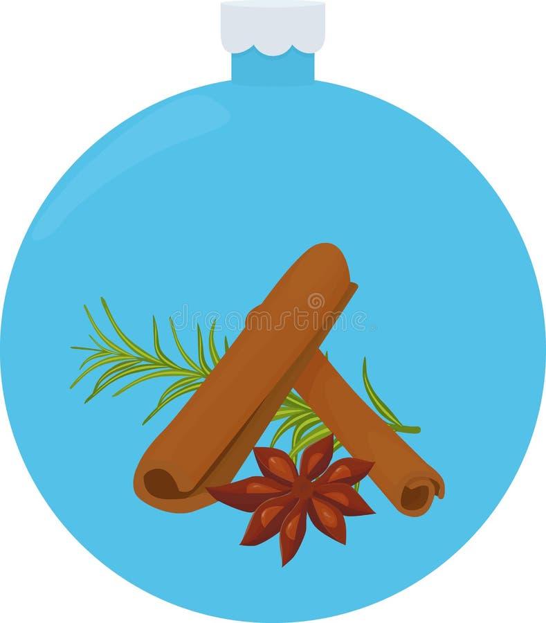 调味料和香料的构成 茴香、迷迭香和桂香在蓝色圣诞节球 库存例证