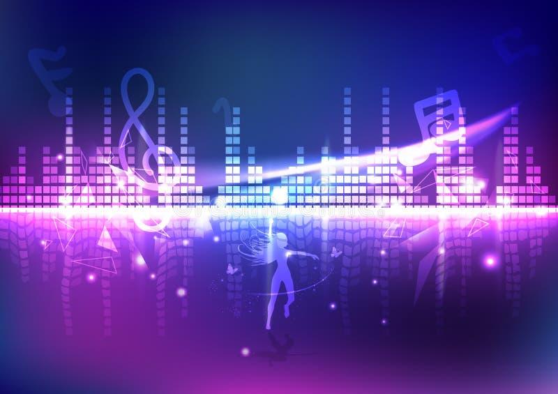 调平器、妇女跳舞与音乐,波浪容量与三角和光线影响,霓虹数字技术抽象背景 向量例证