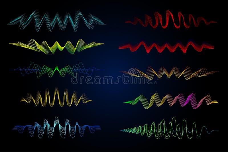 调平器传染媒介例证 抽象波浪象为音乐和声音设置了 脉动颜色波浪行动在黑背景排行 向量例证