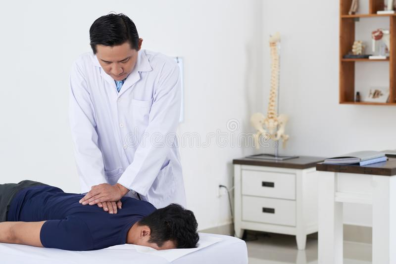 调整脊椎的按摩医生 库存图片
