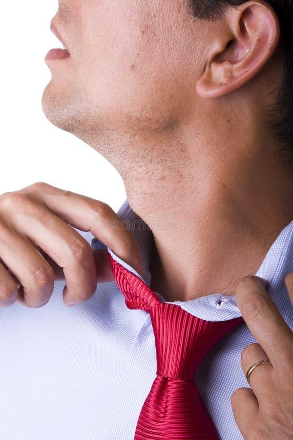 调整领带 免版税库存照片