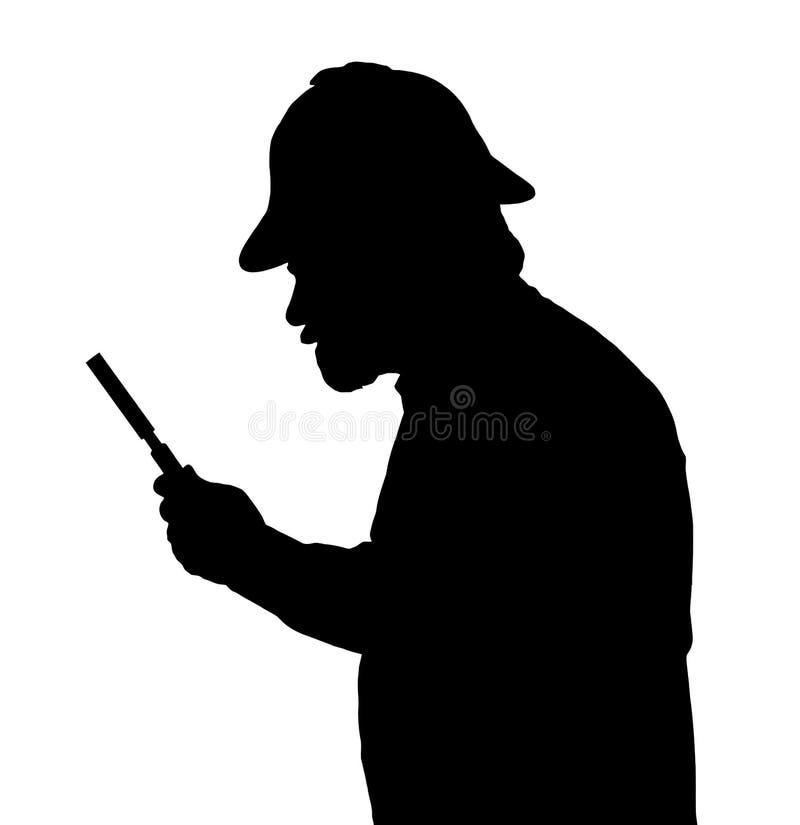 调查与放大镜的有胡子的人剪影 向量例证