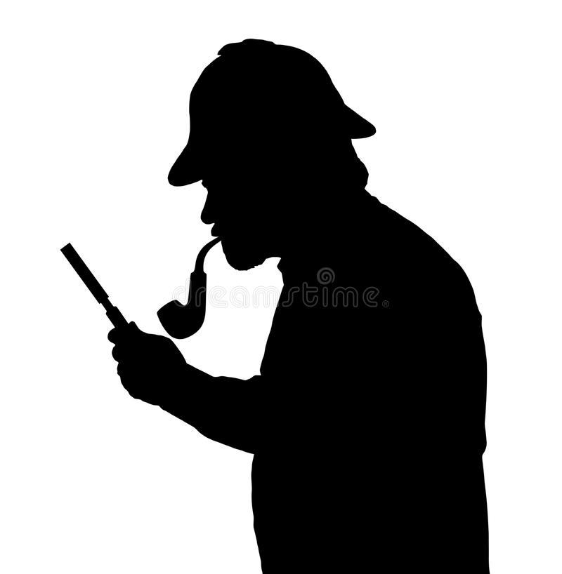 调查与放大镜的有胡子的人剪影 皇族释放例证