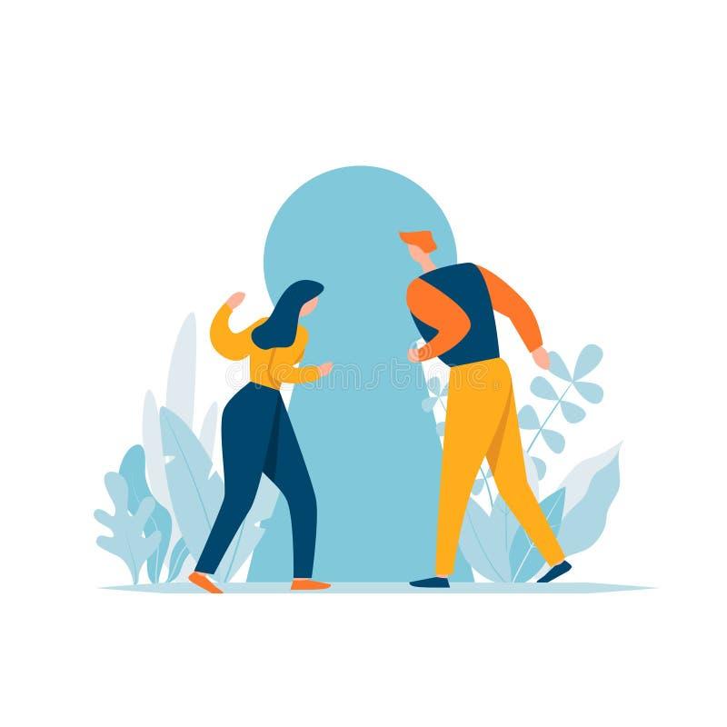 调查与求知欲的匙孔的夫妇 解决问题,机会,概念 卡通人物发现秘密 向量例证