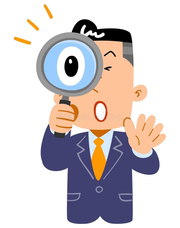 调查放大镜的一个惊奇的商人的上身 向量例证