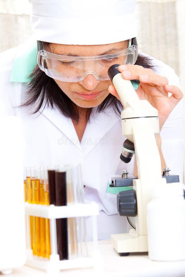 调查显微镜的科学家 免版税库存图片