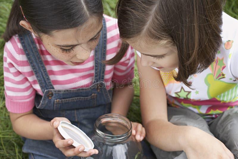 调查瓶子的女孩 免版税库存照片