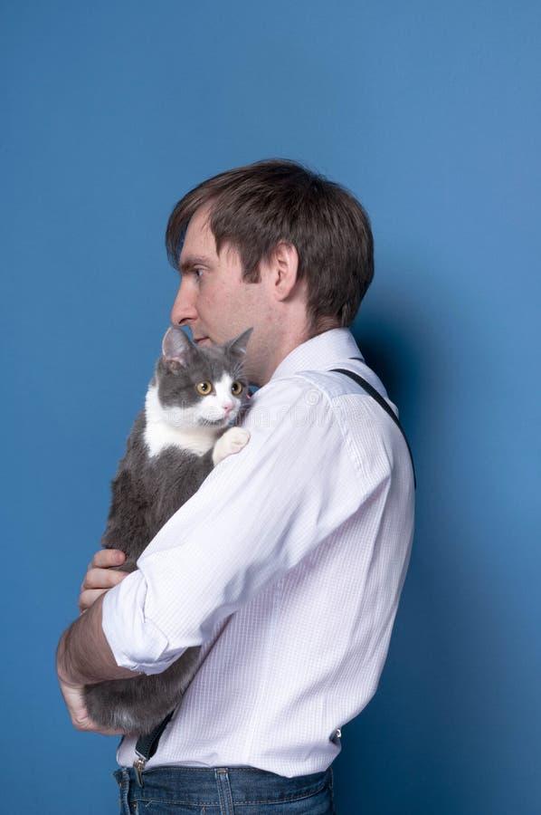 调查距离,拿着和拥抱在蓝色背景的桃红色衬衣的帅哥灰色猫 免版税库存图片