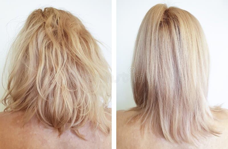 调直在角质素做法前后的头发女孩 免版税库存照片