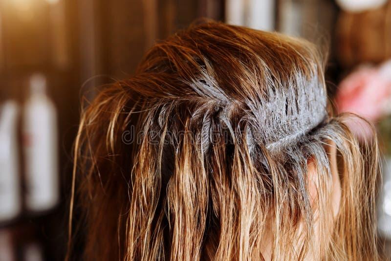有适用于面具的刷子的发式专家她的秀丽美发店的客户的头发 调直角质素的过程,头发 图库摄影