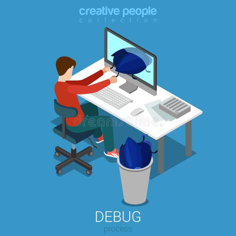 调试等量开发商程序员代码工作场所平的传染媒介 库存例证