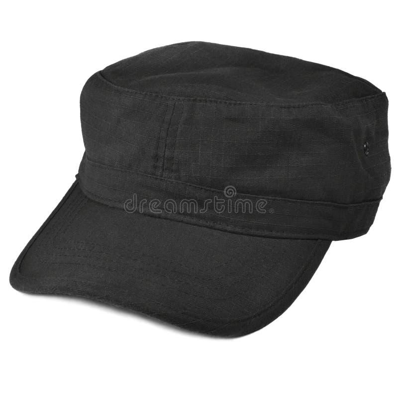 调遣巡逻盖帽宏观特写镜头,被隔绝的大详细的黑裂口中止NYCO尼龙棉花警察拍打治安警卫平顶帽织品 免版税库存图片