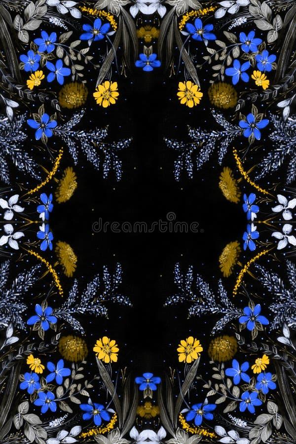 调遣花和草本-在丝绸的装饰构成 细麻花布 在白色背景的装饰构成 花饰 U 向量例证