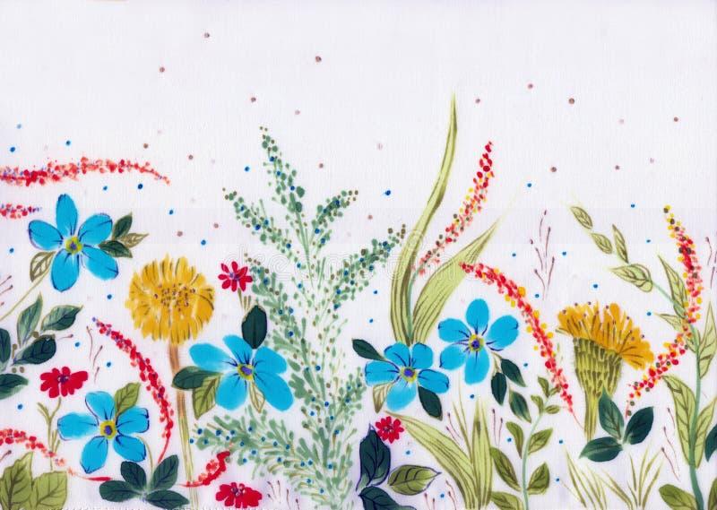 调遣花和草本-在丝绸的装饰构成 细麻花布 在白色背景的装饰构成 花饰 U 库存例证