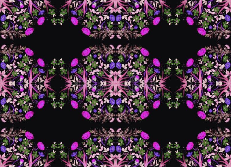 调遣花和草本-在丝绸的装饰构成 细麻花布 在白色背景的装饰构成 花饰 U 皇族释放例证